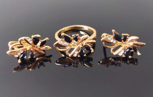 Женский позолоченный комплект  серьги с кольцом