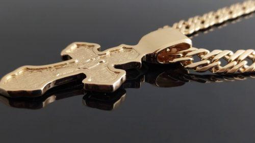 Позолоченная цепочка с крестиком