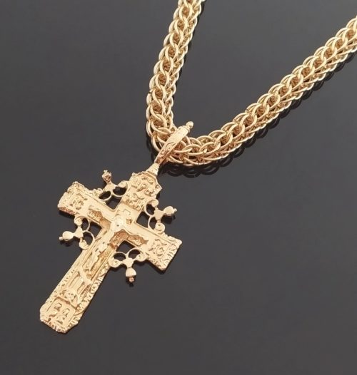Крестик позолоченный с цепочкой