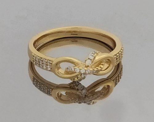 Кольцо позолоченное с фианитом